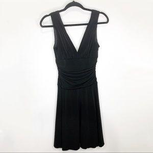 A. BRYER Black Deep V-neck Cocktail Dress Medium